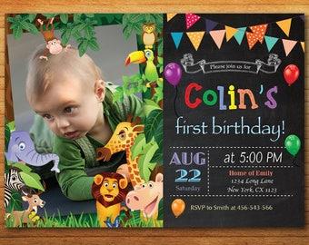 Jungle Animals Safari Birthday Invitation. Kids Birthday Party Invite with Photo. Zebra Print Elephant Giraffe Lion. Printable Digital.
