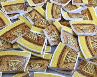 50 Extra LargeBrown and Yellow Retro Broken China Mosaic Tiles