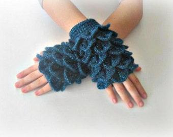 Fingerless Gloves , Teal,with glitter