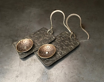 Mixed metal earrings, silver hand stamped rectangle with brass cup