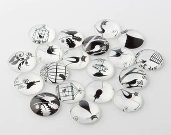 black & White Bird glass cabochon model 5