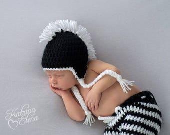 Punk Rock Baby/ Mohawk Beanie/ Rocker Baby Prop/ Black and White Prop/ Gender Neutral Prop/ Baby Boy Prop/ Baby Shower Gift/ Unique Prop