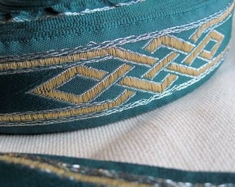 Celtic Knot ribbon Trim in SILVER and ANTIQUE yellow  on Forest GREEN