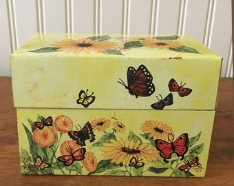 Metal Recipe Box with Butterflies