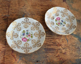 Royal Grafton Orphan Saucer - Buy One or Two - Pale Blue English Bone China with Pink Flowers and Gold Cloverleaf Scroll