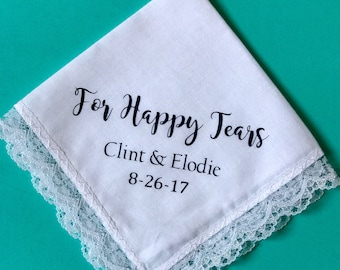 For Happy Tears Handkerchief | Wedding Gift | Hanky Gift