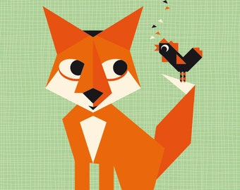 Fox & Rooster Poster