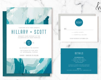 Printable Wedding Invitation Suite / Wedding Invite Set - The Painterly Suite