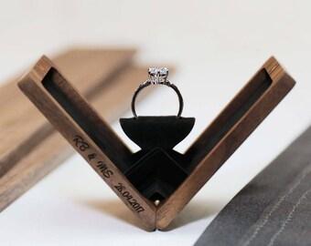 Thin engagement ring box, wedding ring box, anniversary gift, wooden ring box, hand made proposal box, Walnut (Rectangle), Woodsbury