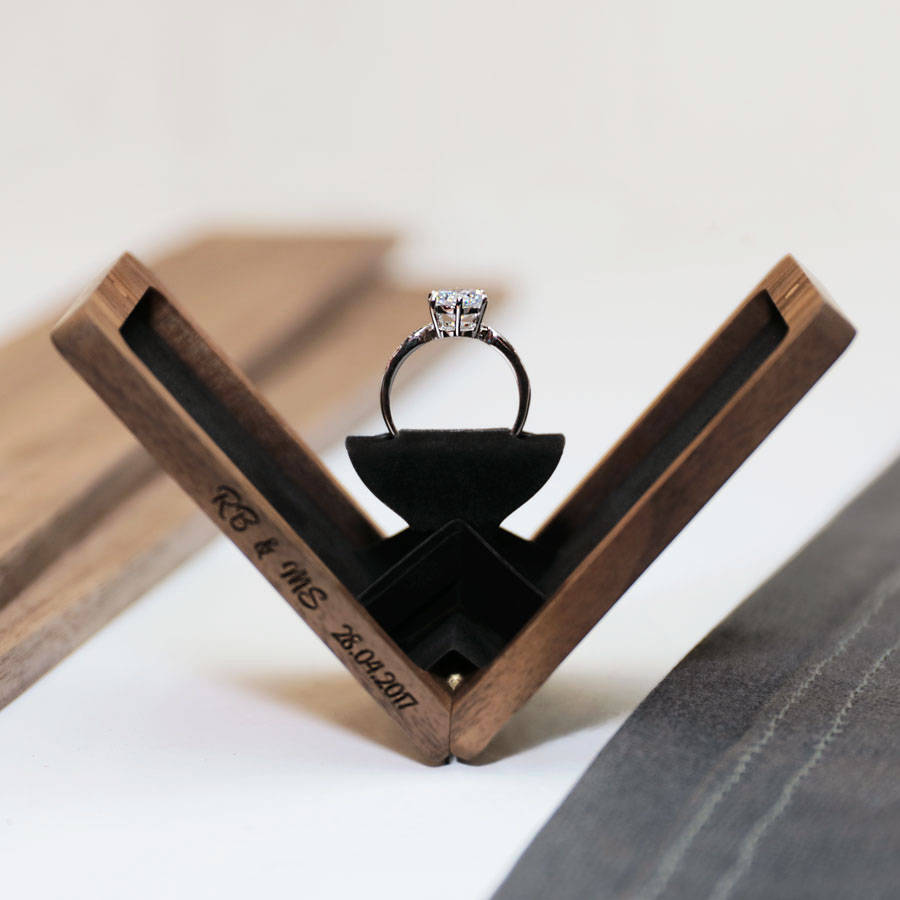 thin engagement ring box wedding ring box anniversary gift