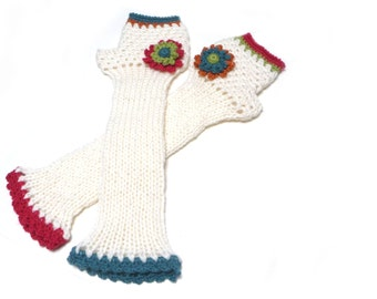 White Knit Long Fingerless Gloves, Crochet Winter No finger Mittens, Mitts, Arm warmers, Wrist warmers, for Women with Flowers, Mom Gift