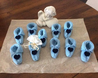 For Deco christening set sky blue wool baby booties
