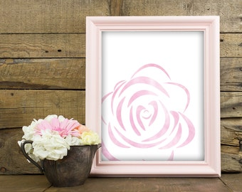 Instant Download Printable Art, Rose Print, Rose Wall Decor, Rose Wall Art, Pink Wall Art, Pink Wall Decor, 8 x 10 Print, Pink Watercolor