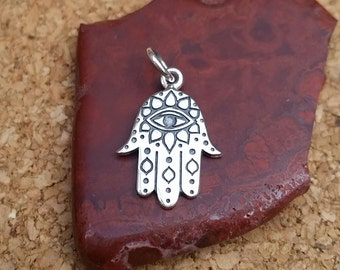 Hamsa Hand, Sterling Silver Hamsa Hand with Etched Evil Eye, Diy Hamsa Necklace, Evil Eye Charm, Hamsa Charm, Hamsa Pendant, Evil Eye Charm