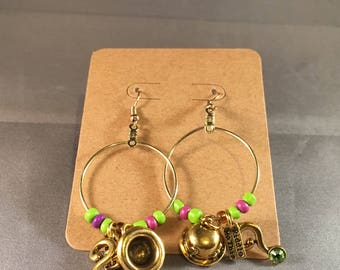 Riddler Dangle Hoop Earrings: featuring purple and green seed beads and gold Riddler Bowler Hat, Question Mark, and Note charms