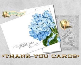 Hydrangea Floral Thank You Cards - Bridal Shower, Wedding - Folding Thank You Notes - Choice of Colors - Printed 4Bar Cards with Envelopes