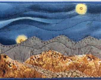 Mountain Hike - Thank You Gift - Fabric Postcard - Quilted Art - Small Quilt - Landscape Art - Mountain Landscape - Blue Ridge Mountains