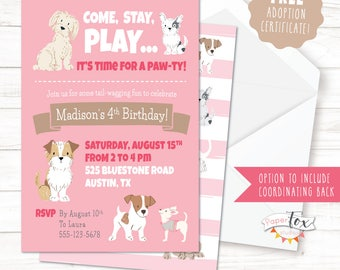 Puppy Birthday Invitation, Puppy Party Invitation, Puppy Party, Puppy Adoption, Dog Party, Puppy Invitation, FREE certificate, PRINTABLE