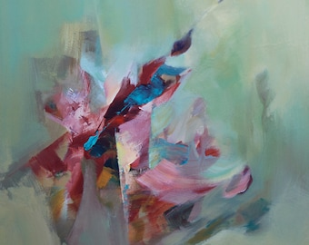 Green Painting Pink Painting Abstract Painting Modern Paiting Original Painting