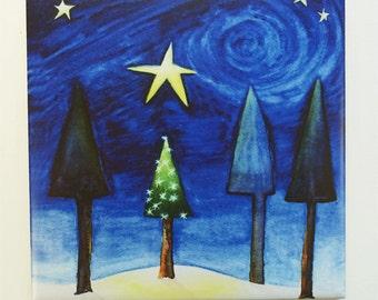 Holiday Small Tree Tile Trivet Original Watercolor