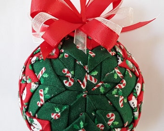 Candy Canes and Snowmen Christmas Quilted Ornament