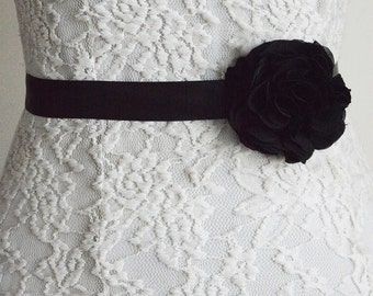 Black, Bridal Sash Belt, Wedding Flower Belt, Tieback headband, Dress,Flower Girl, Bridesmaid, Belt and Sashes