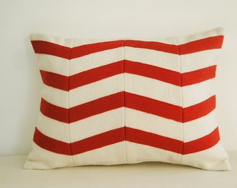 Chevron Applique Felt Cushion Cover in Red and White, Decorative Pillow, Accent Throw Pillow