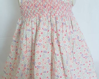 Gorgeous Floral Pinwale Corduroy Hand Smocked Baby Dress - sizes 0-3 months, 3-6 months, 6-9 months and size 1