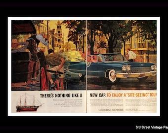 1960 Cadillac Ad with Coupe de Ville - GM - General Motors - Garage - Wall Art - Home Decor - Retro Vintage Car & Auto Advertising