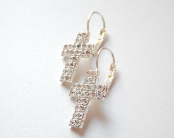 Cross Earrings Silver Cross Jewelry Long Cross Earrings earrings with stones glass stone shiny stone beautiful earrings gift earring clasp