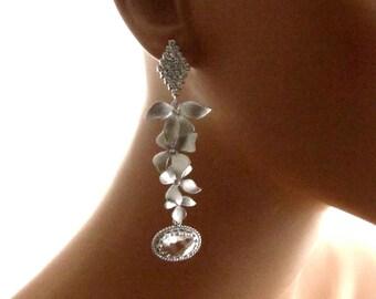 Lange baumeln Sie Aussage Braut, Braut Ohrringe, lange funkelnde Kristall Tropfen rautenförmigen Ohrringe - Orchideen