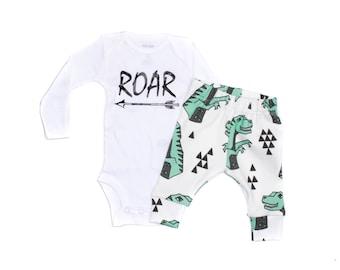 Dinosaurs Leggings and ROAR Bodysuit, Dinosaurs Leggings, Baby Leggings, Newborn Going Home Outfit, Organic Baby Clothes, Roar Baby Shirt