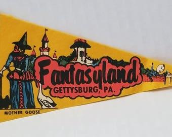 Fantasyland, Gettysburg, Pennsylvania - Vintage Pennant