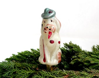 RARE White dog Mastiff from Chipollino fairy tale 1950s Christmas decor Hand painted glass decoration Blown glass ornament Russian Soviet