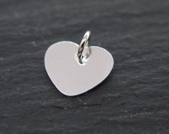 Sterling Silver Heart Charm (Thin) 9mm