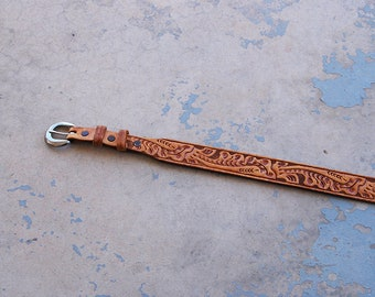 vintage Tooled Leather Belt -  Light Brown Floral Tooled Leather Belt Sz XS S M