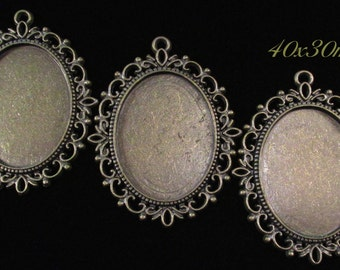 40x30mm Antique Bronze Setting - Old World Lace - 3 pc : sku 07.04.13.6 - V15