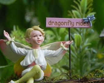 Fairy garden sign - dragonfly rides miniature light pink handmade sign