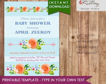 60% OFF SALE. Baby Shower Invitation, girl baby shower invite, baby shower