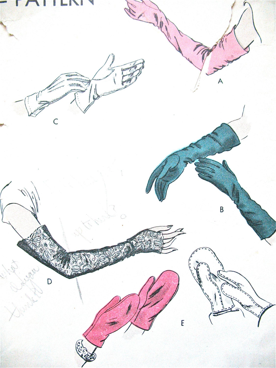 1940s Evening Gloves Vintage Sewing Pattern Opera Gloves and Mittens ...