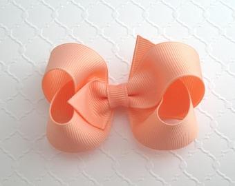 """3"""" Peach Hair Bow ~ Girls Hair Bow ~ Toddler Girl Hair Bows"""