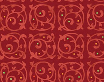 One Yard - MORE of This 'N That  - Chervil in Claret Red - Cotton Quilt Fabric - Designed by Nancy Halvorsen for Benartex (W1921)