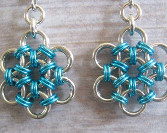 Earrings Chain Maille Silver and Turquoise Japanese Weave Flowers Aluminum Jewelry