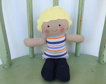 Clearance Sale: Handmade little boy rag doll perfect size for small hands.