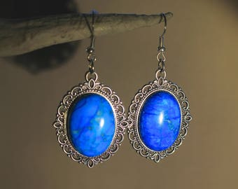 "Earrings in silvery metal, Steampunk retro vintage ""Turquoise"""