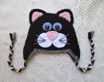 READY TO SHIP - 1 to 3 Year Size - Black and Medium Pink Kitty Cat with Blue Eyes - Crochet Winter Hat or Photo Prop