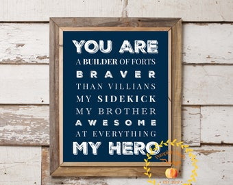 My Brother My Hero Wall Art Printable Sign Instant Download 11x14 Navy Blue