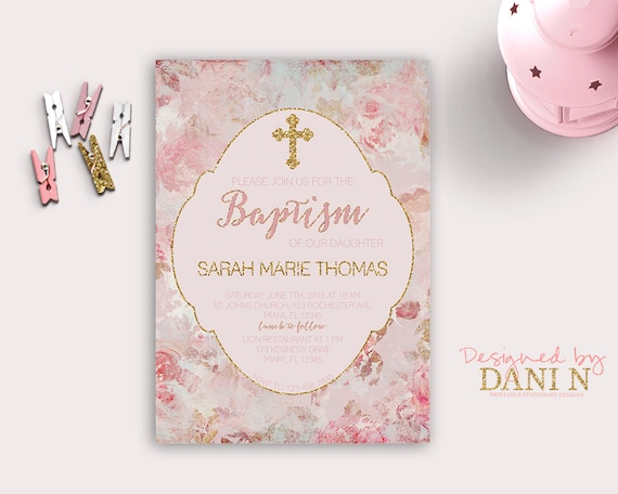Pink and gold floral baptism invitation christening catholic m4hsunfo