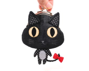 Little black cat clutch purse