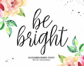 Be Bright Script Font, Handbrushed Font, Modern Calligraphy Font, Brush Font, Handwritten Font, Digital Font Download